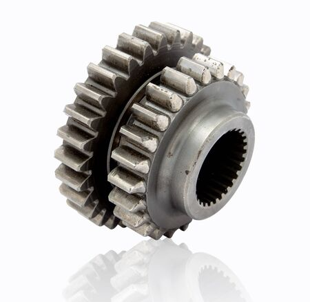 Silver Cog isolated on White Background. File contains with clipping path.