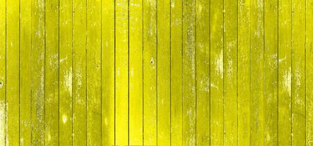 Wood board. Vintage yellow color painted wood wall as background or texture, Natural pattern. Blank copy space. 免版税图像