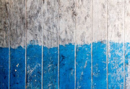 Vintage wood board, Two tone color blue and white painted wood wall as background or texture, Natural pattern. Blank copy space.