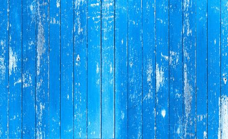 Wood board. Vintage blue color painted wood wall as background or texture, Natural pattern. Blank copy space.