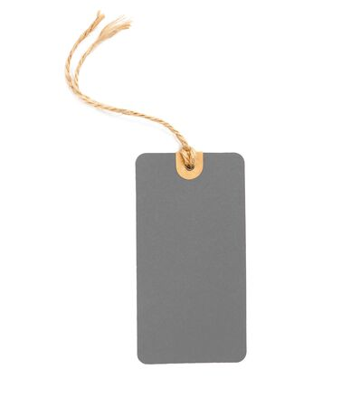 Blank Gray cardboard Price tag or label isolated on a white background, File contains with clipping path.
