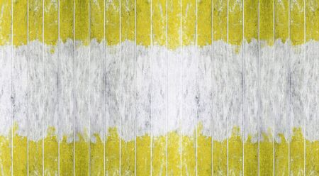 Vintage wood board, Two tone color yellow and white painted wood wall as background or texture, Natural pattern. Blank copy space.