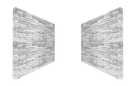 Perspective isolated white brick wall texture background. Brick wall for interiors backdrop design.