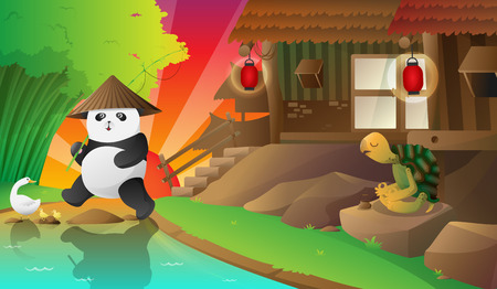 chinesse: panda in the small acient village
