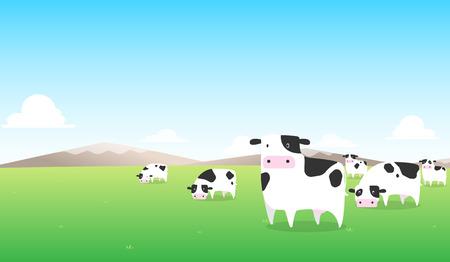 緑の野原に牛乳  イラスト・ベクター素材