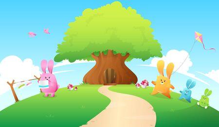 greenfield: happy rabbit family