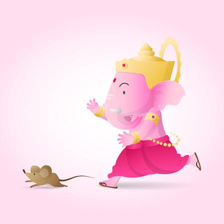 kid Ganesha run Banco de Imagens - 55384581
