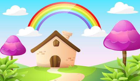 cartoon house and landscape