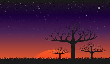fantasie zonsondergang en schemering bij weide wallpaper Vector Illustratie