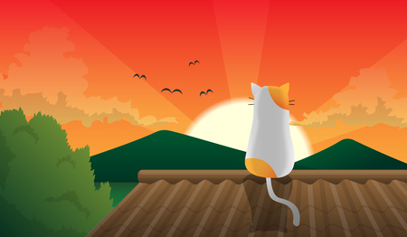 vectoe: cat sit on the roof and japan sunset Illustration