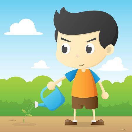 cute boy watering cartoon illustration