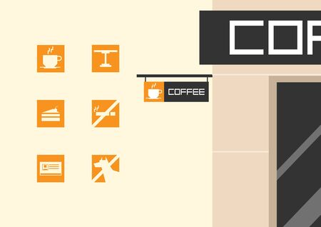coffee shop square icon Ilustrace