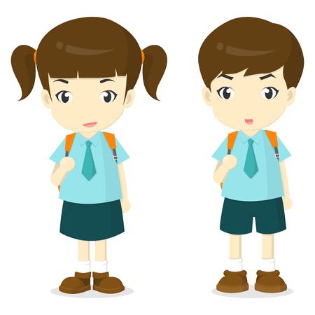 Jungen und Mädchen in der Schuluniform Cartoon illustation-