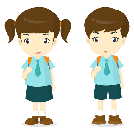 school uniform: boy and girl in school uniform cartoon illustation