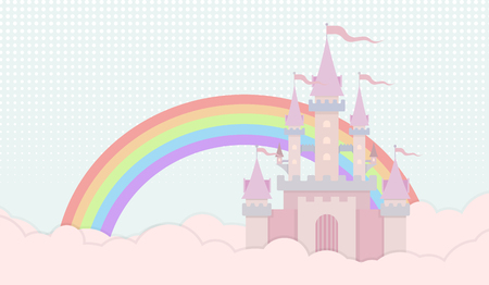 fortified: sweet castle in pastle color background Illustration