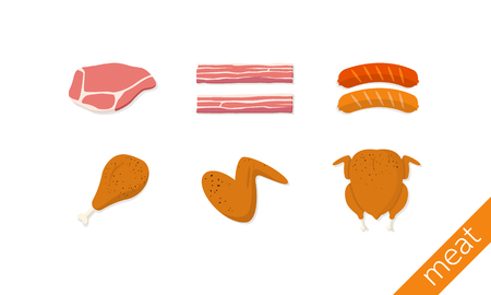 meat bacons sausages chicken drumstick and wing illustration Illustration