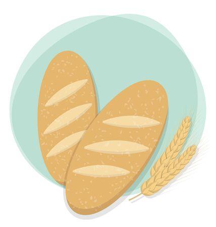 パンと小麦のベクトル図