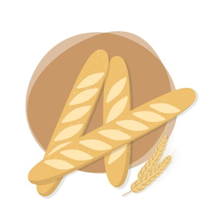 baguettes whith wheat vector illustration Ilustrace