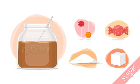 sugar cube: caramel candy sweet sugar vector illustration