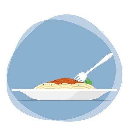 plain spaghetti with tomato sauce vector illustration