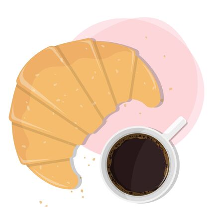 croissant and a cup of coffee vector illustration 向量圖像