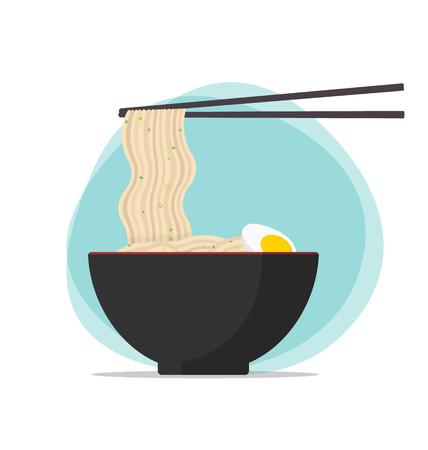 ramen: Japan soba ramen plain vector illustration
