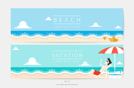 vacation time: beach and sky in vacation time vector banner Illustration