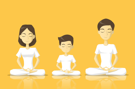 a family in white clothes meditate vector illustration Ilustração