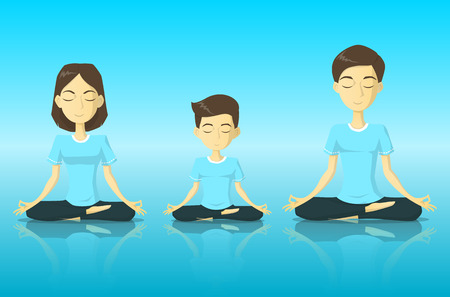 A tranquility family in yoga pose meditation vector illustration