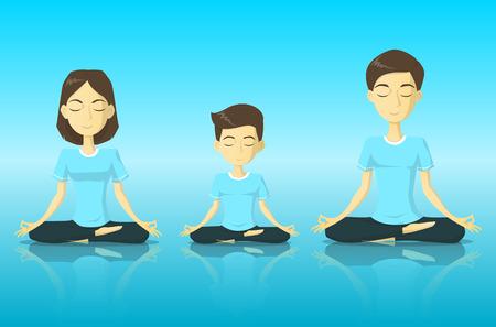 meditation man: A tranquility family in yoga pose meditation vector illustration
