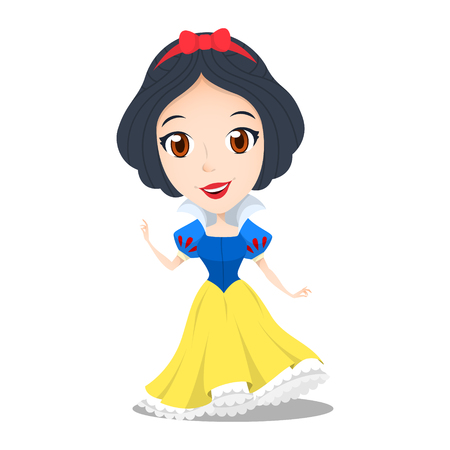 Cute princess snow white cartoon vector character