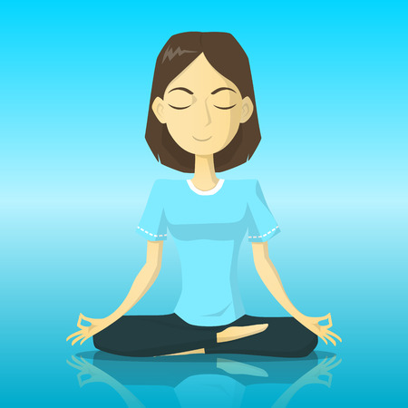 A tranquility woman in yoga pose meditation vector illustration