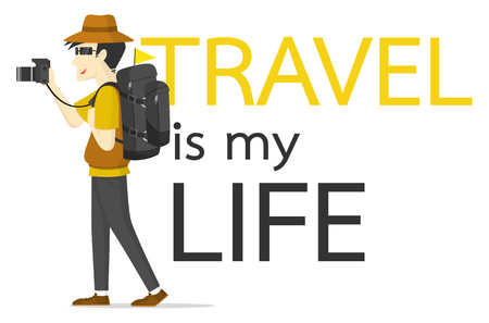 Man backpacker with camera vector illustration