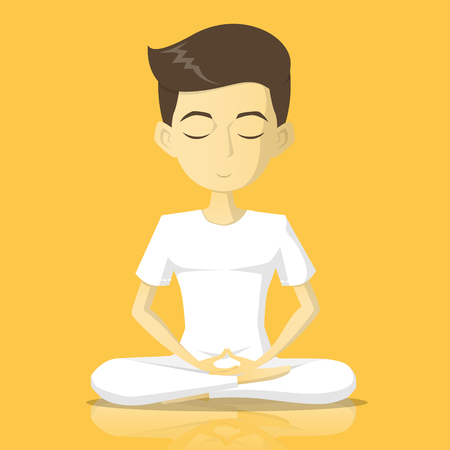 A boy in white clothes meditate vector illustration
