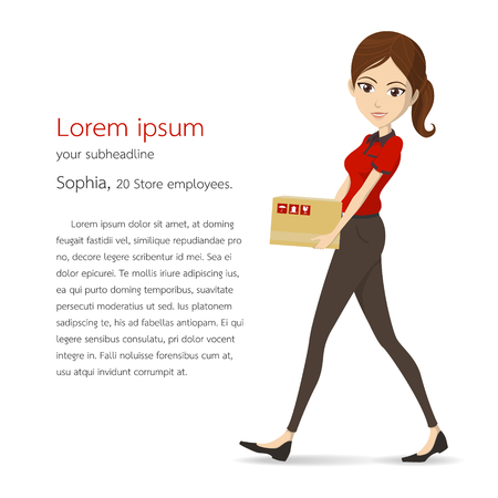 Woman assistant in red shirt carry box vector character