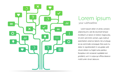Tree of thinking and mind vector illustration