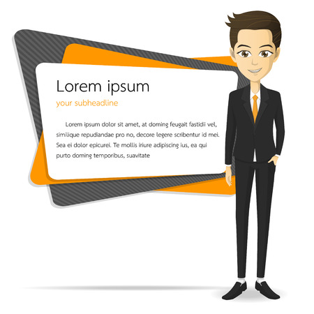 Businessman character in suit vector cartoon Illustration