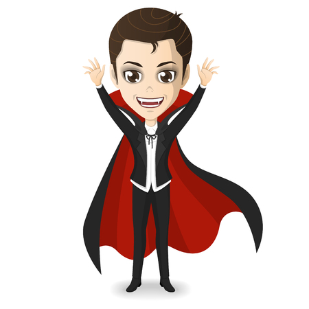 Cute young dracula on halloweenday vector cartoon