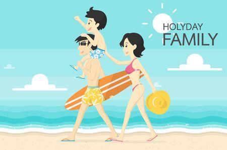 Familia feliz en la ilustración de vector de playa Foto de archivo - 77515359