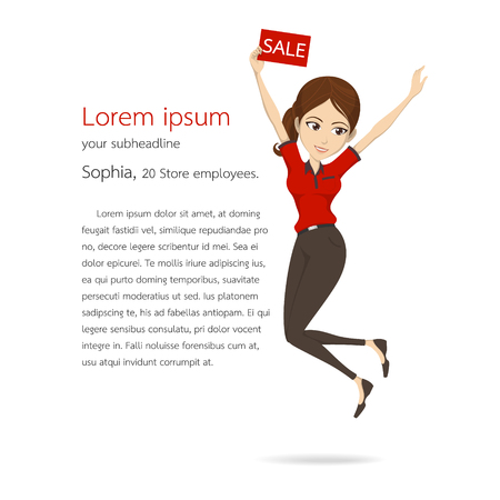 Woman assistant in red shirt jump vector character