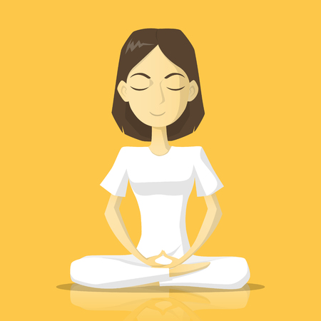 A woman in white clothes meditate vector illustration