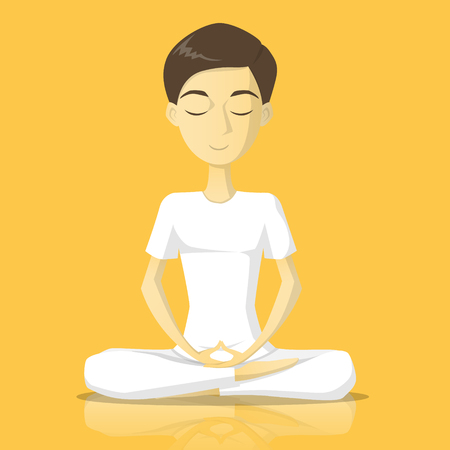 A man in white clothes meditate vector illustration