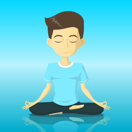 A tranquility boy in yoga pose meditation vector illustration