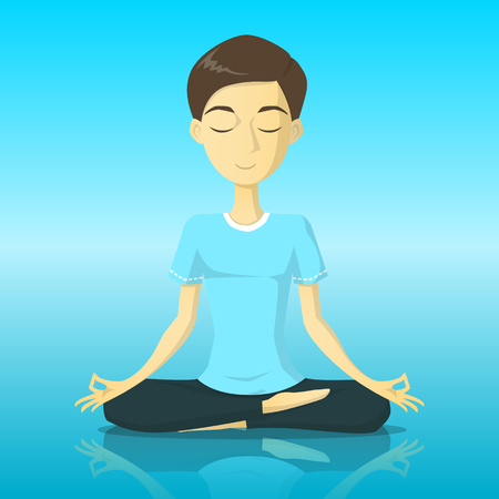 A tranquility man in yoga pose meditation vector illustration Ilustração