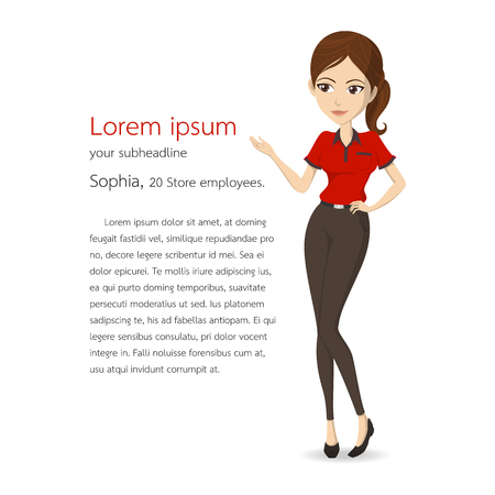 Woman assistant in red shirt vector character