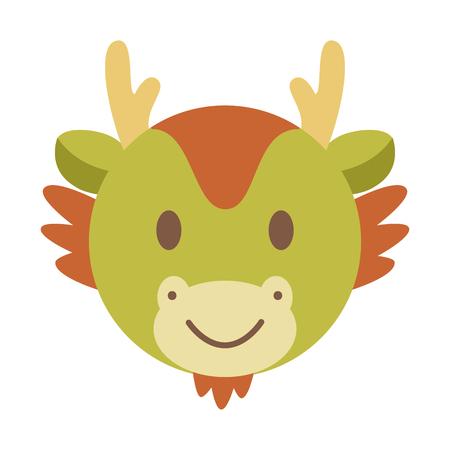 year of snake: cute dragon face, chinese zodiac vector cartoon Illustration