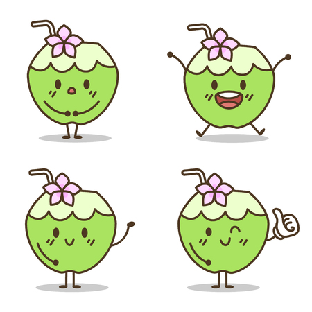 charactor: Cute coconut charactor vector cartoon