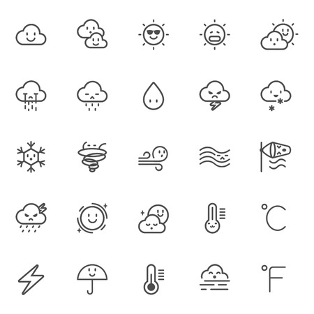 windy day: cute waether icon set vector isolated Illustration
