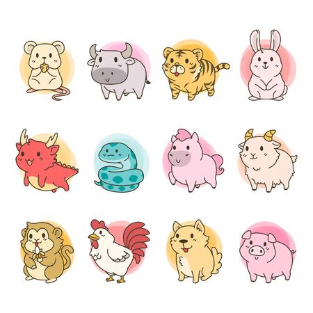 Cute Chines Zodiac Vector Cartoon 일러스트