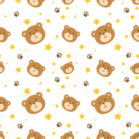 Cute bear face seamless pattern vector background Ilustração